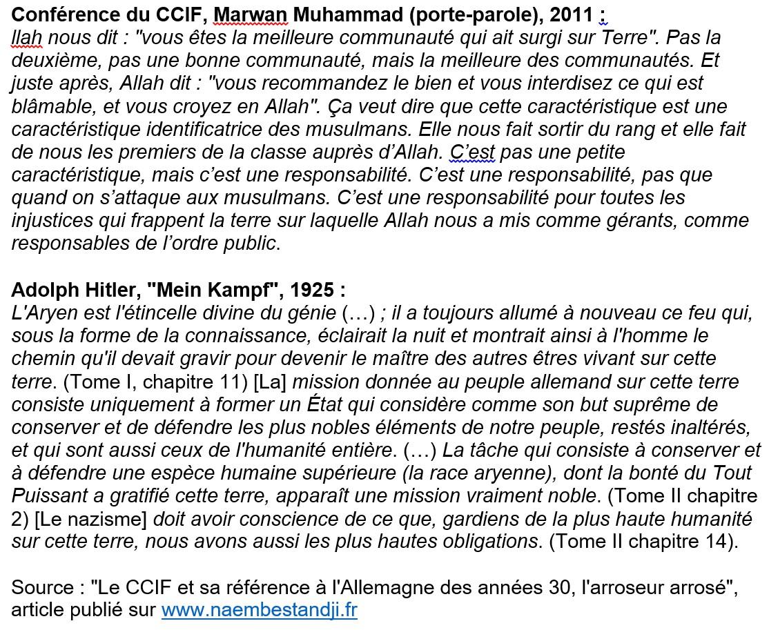 """Propos de Marwan Muhamad similaires à ceux d'Adolf Hitler dans """"Mein Kampf"""""""